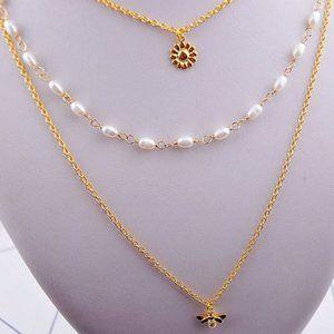 Kate Spade Diamond Bee Flower Pearl Necklace